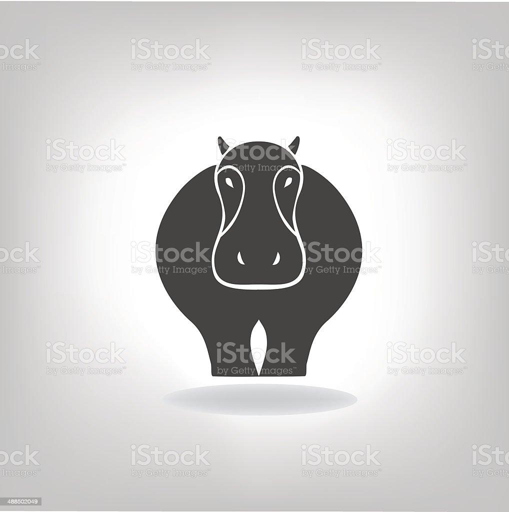emblem of a hippopotamus vector art illustration