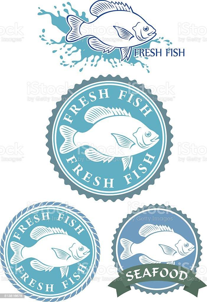 emblem of fresh fish vector art illustration