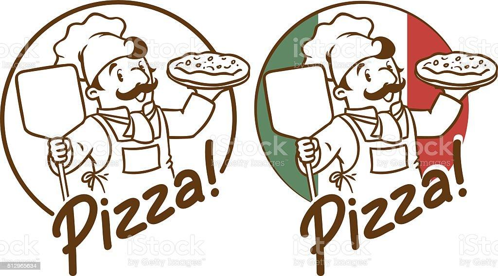 Emblem of funny cook or baker with pizza vector art illustration