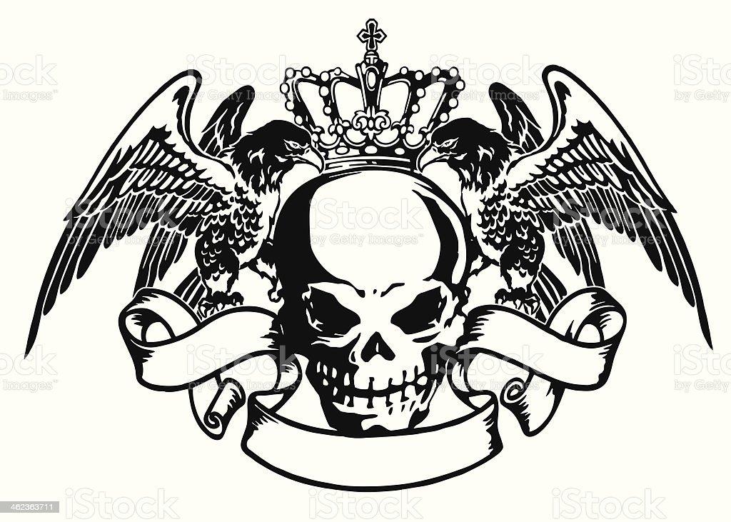 emblem of skull and eagle vector art illustration