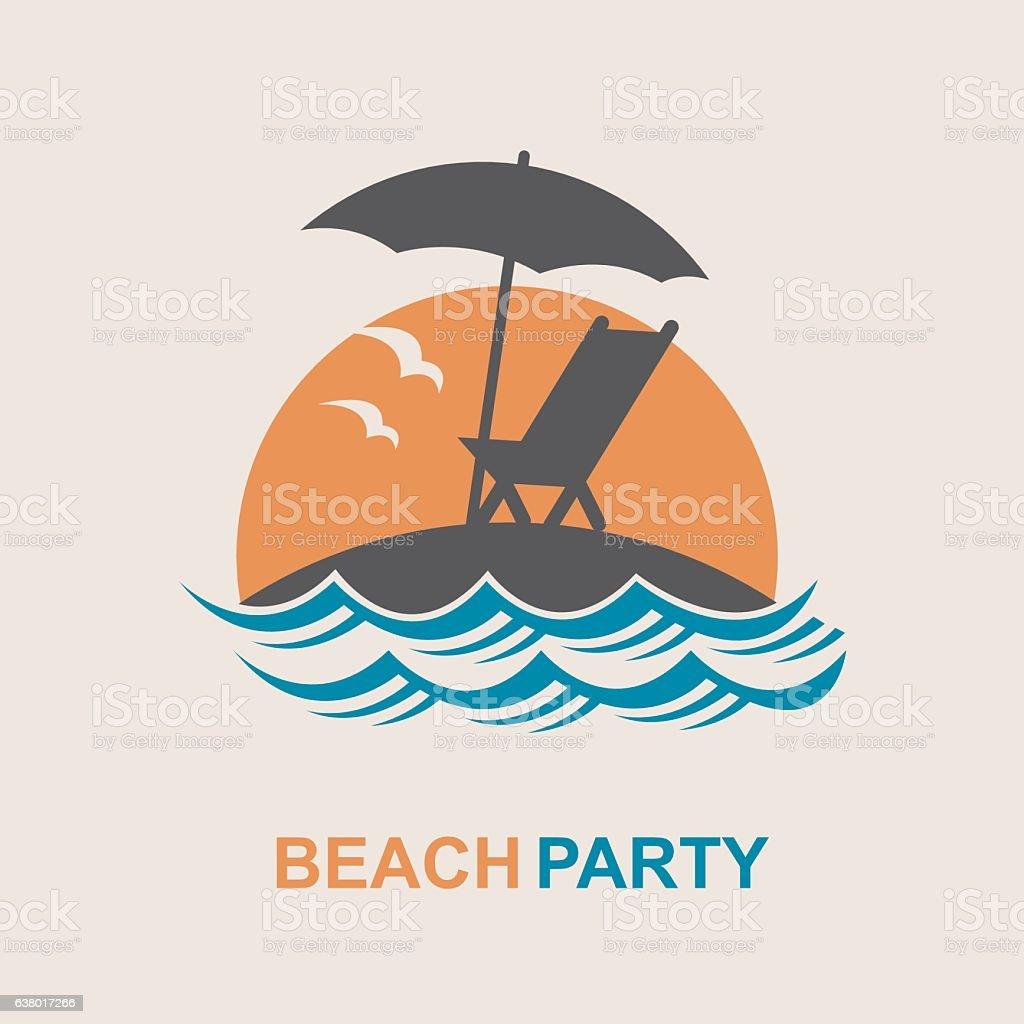 emblem of summer vacation vector art illustration