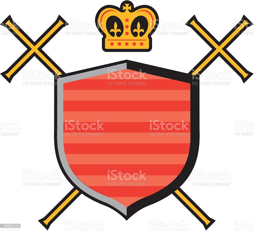 Emblem With Crown and Crosses royalty-free stock vector art