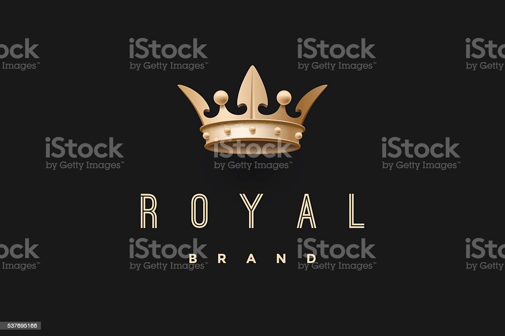 Emblem with gold king crown and inscription Royal brand vector art illustration