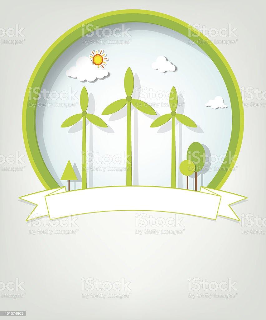 Emblème avec des moulins à vent vert stock vecteur libres de droits libre de droits