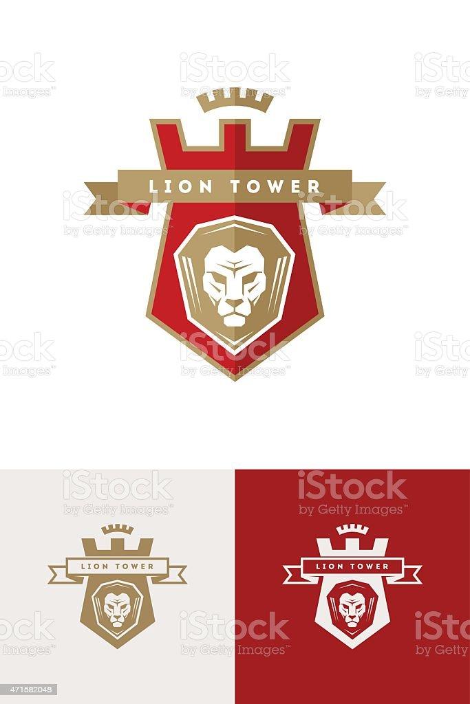Emblem with lion head vector art illustration