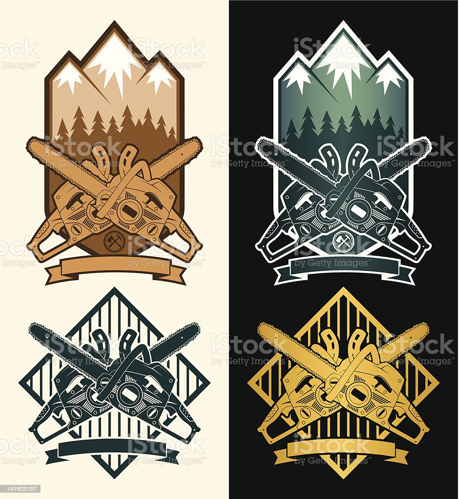 Emblem with mountains and a chainsaw vector art illustration
