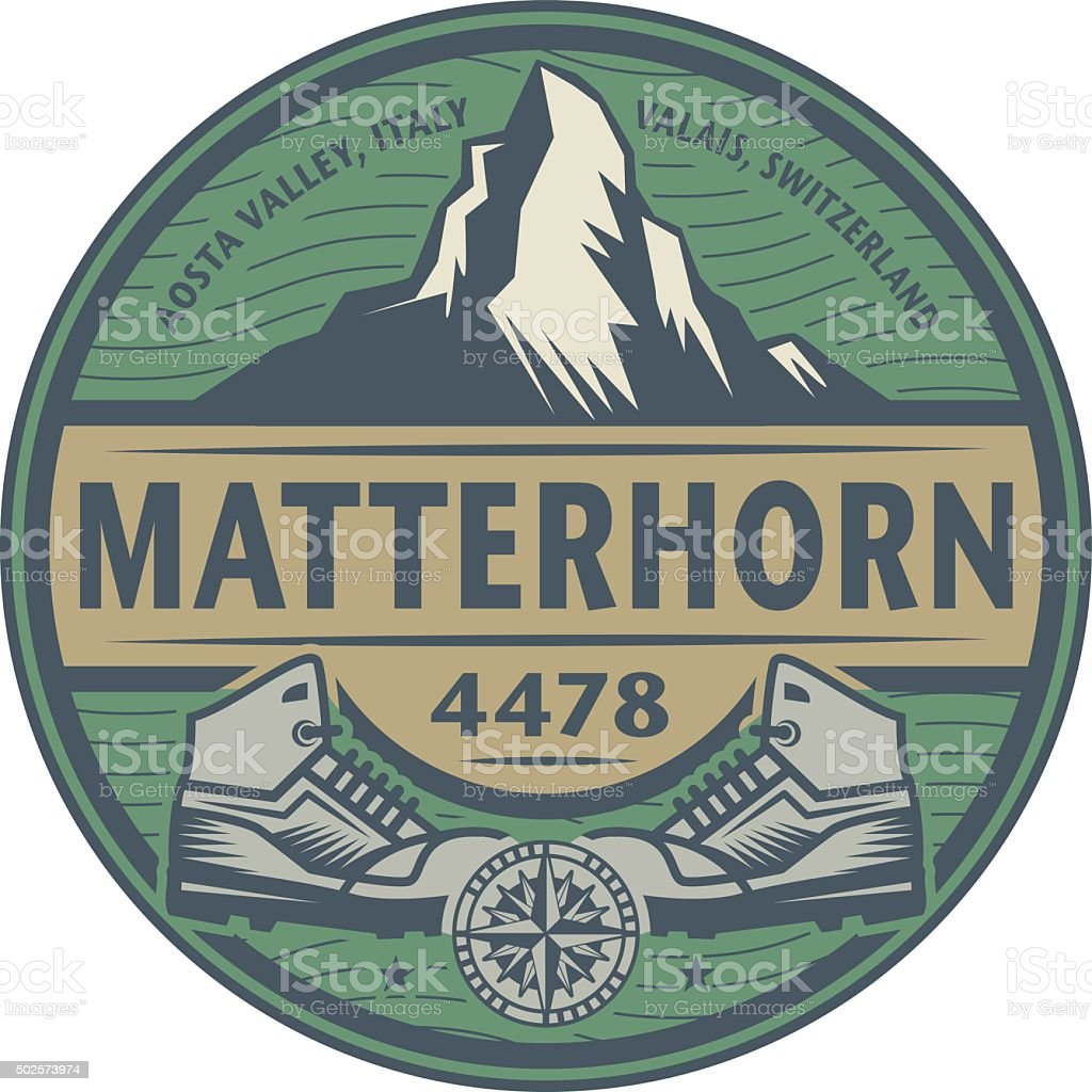 Emblem with text Matterhorn vector art illustration
