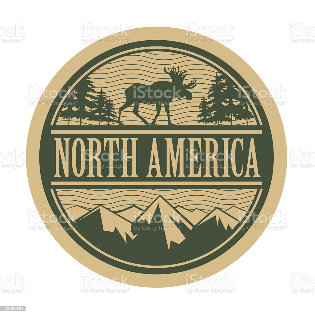 Emblem with the text North America vector art illustration