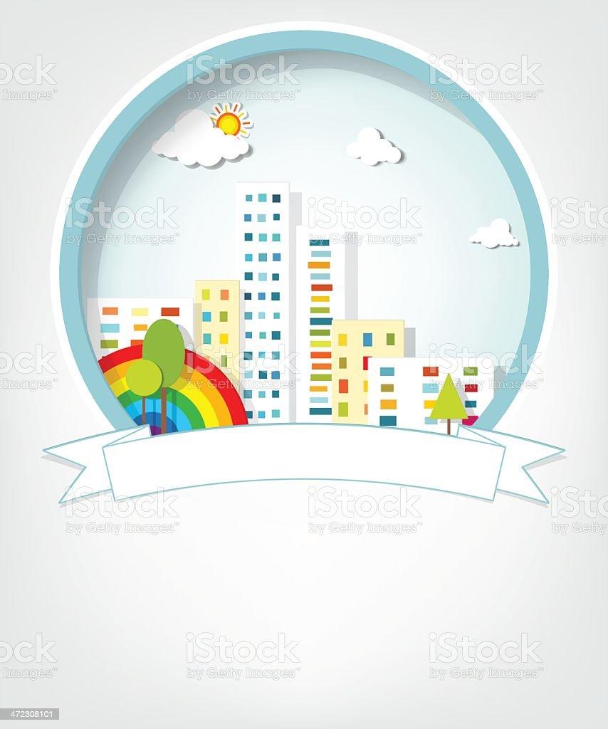 Emblème avec Paysage urbain stock vecteur libres de droits libre de droits