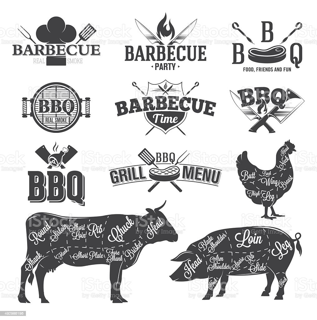 BBQ Emblems and Logos vector art illustration