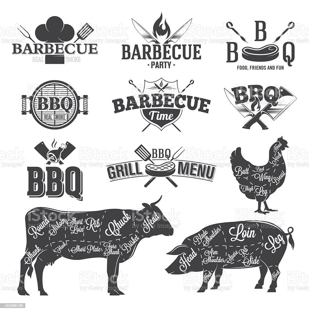 BBQ Emblems and Logos vector art illustration