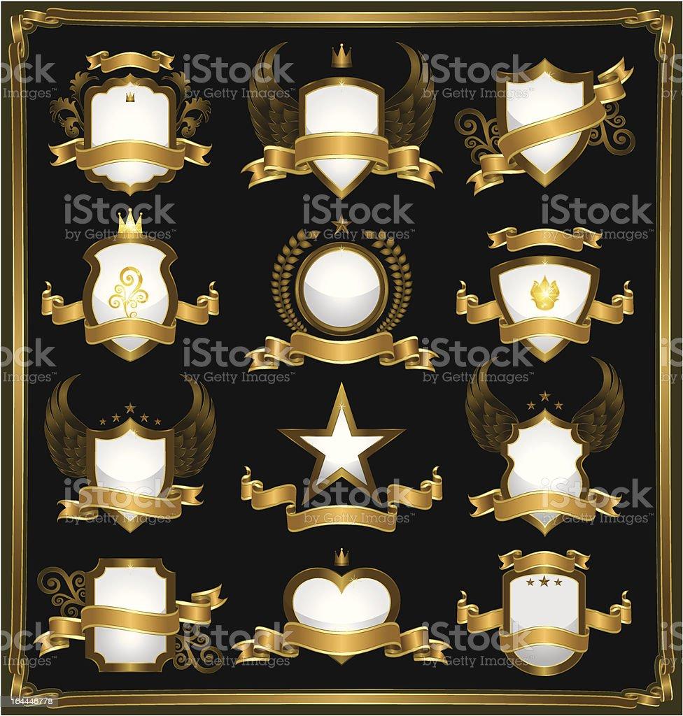 Emblems in gold vector art illustration