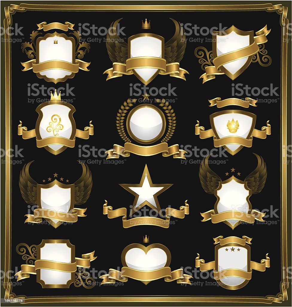 Emblems in gold vector art illustration