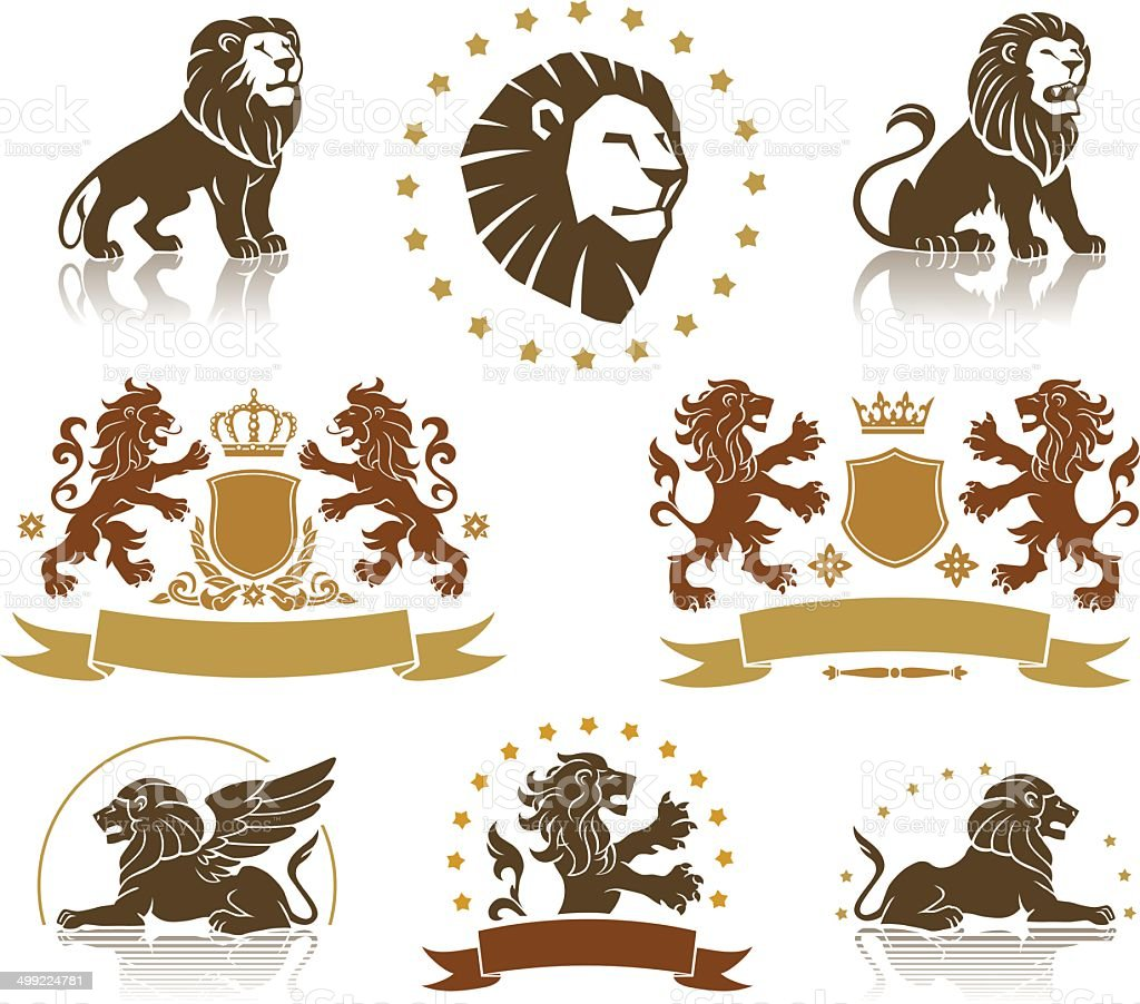 Emblems Set with Heraldic Lions vector art illustration