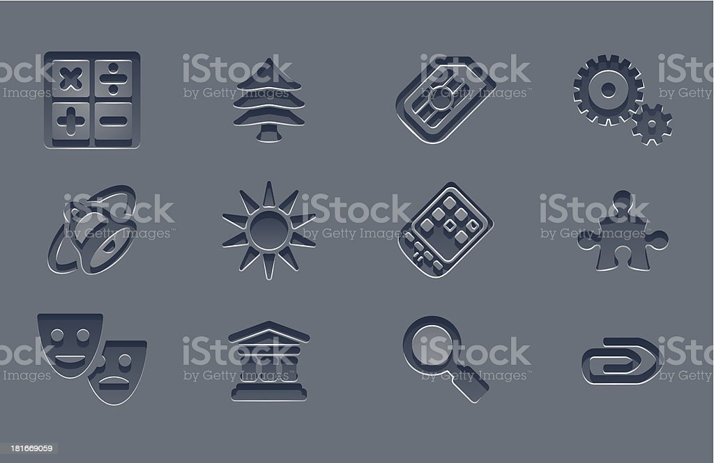 Embossed grey app icon set royalty-free stock vector art