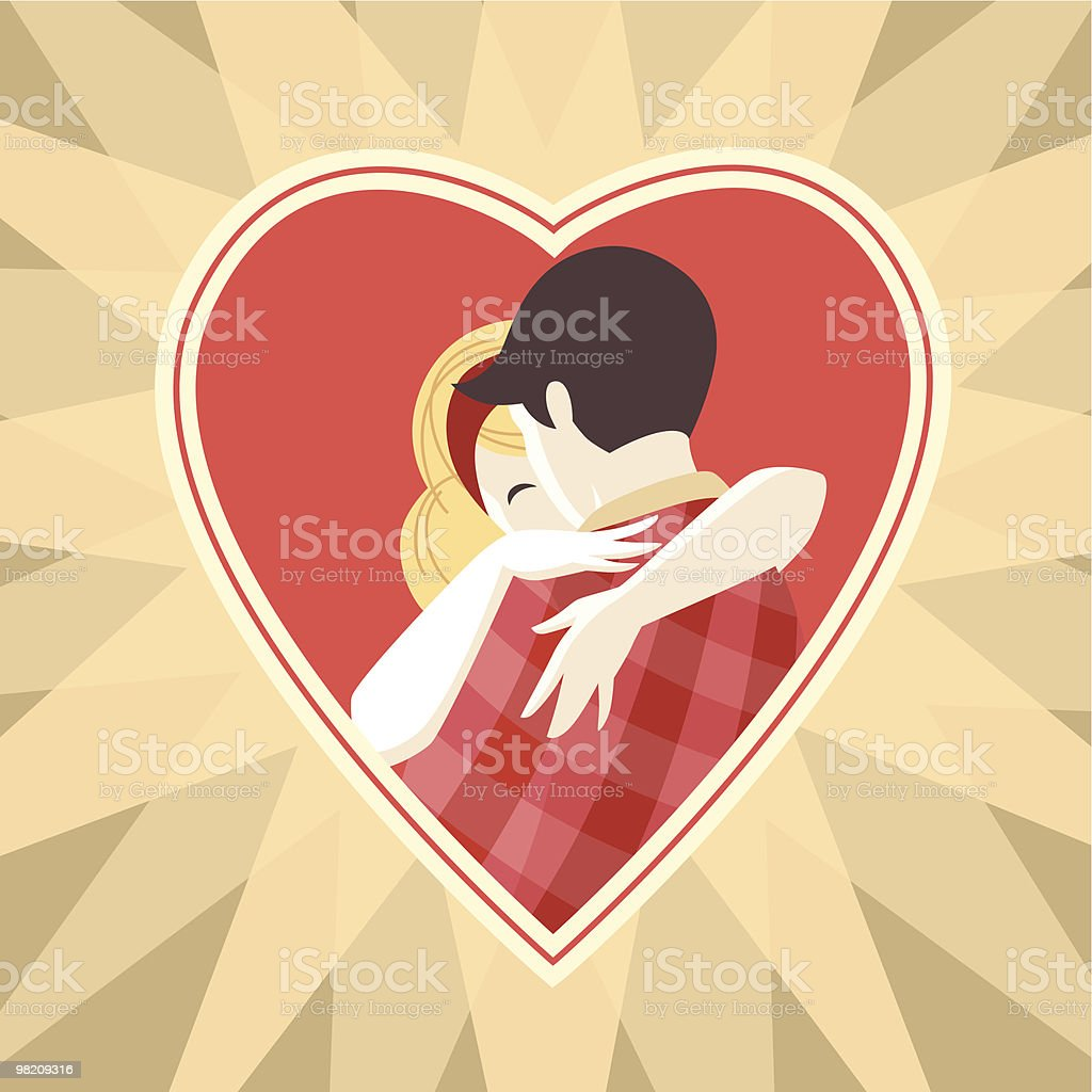 Embracing couple. royalty-free stock vector art