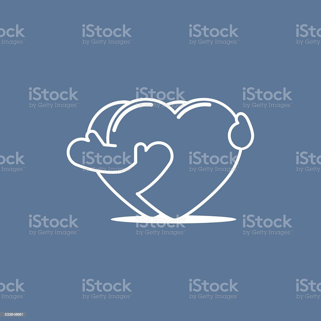 Embracing hearts 01 vector art illustration