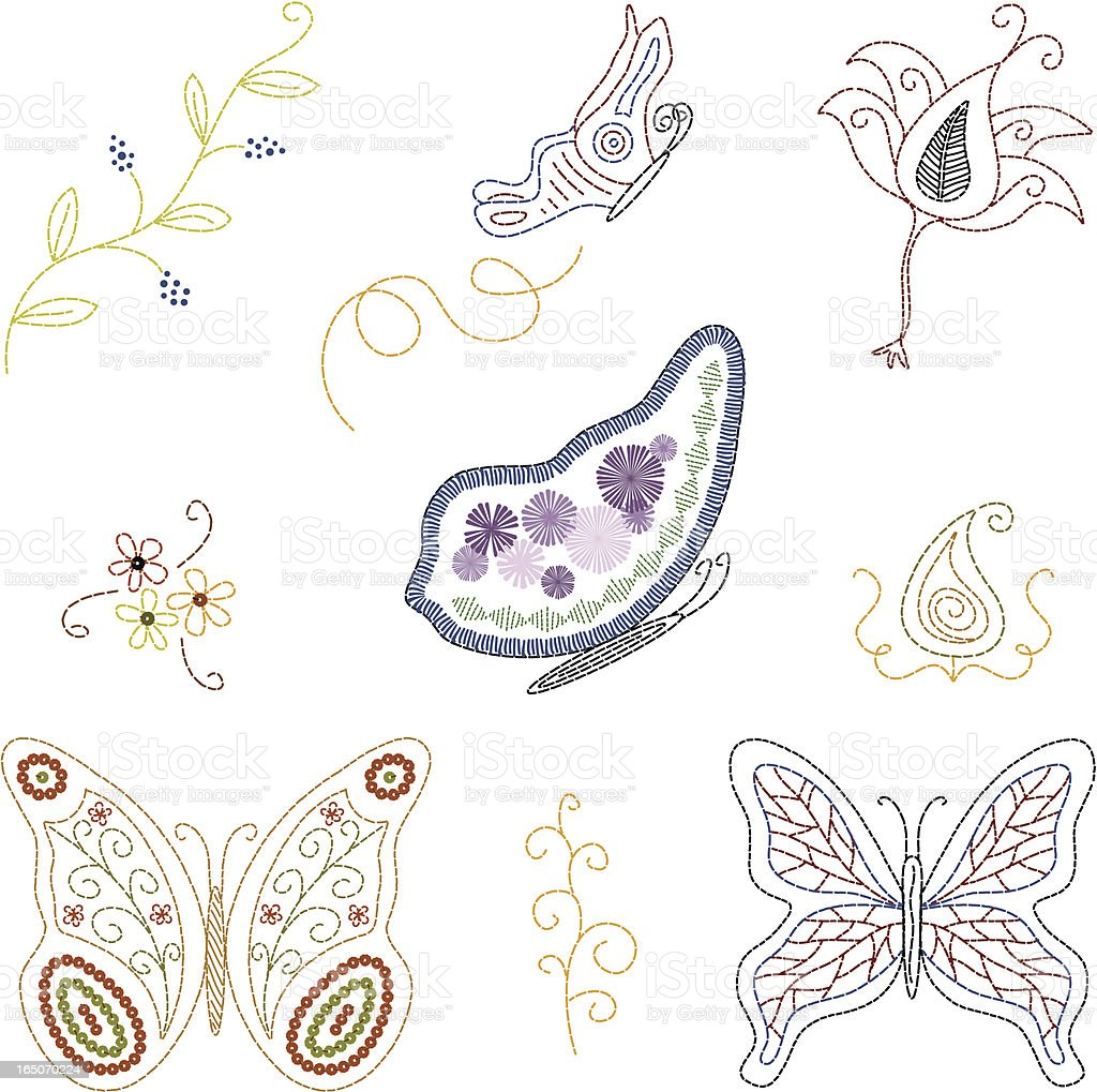 Embroidered Butterflies (Vector) royalty-free stock vector art