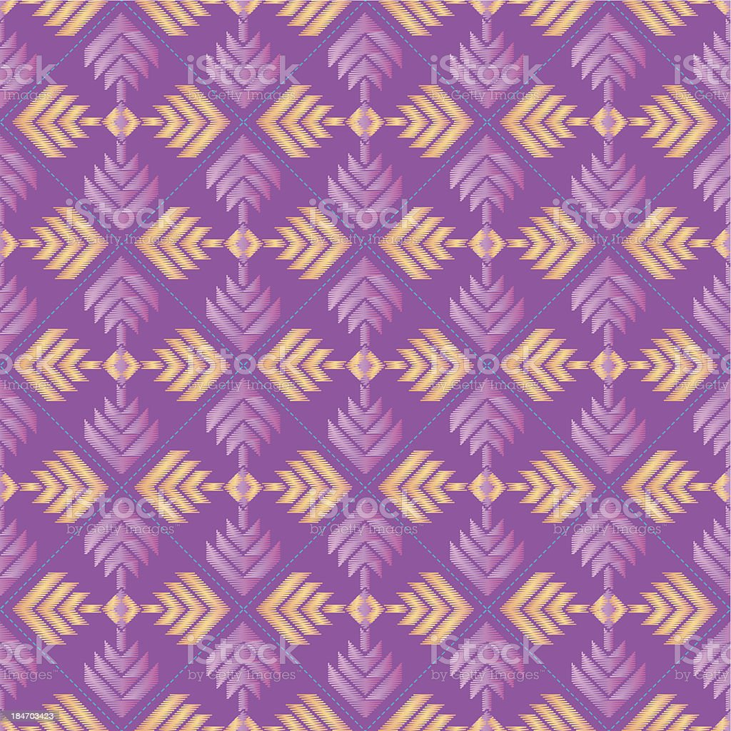Embroidered geometric repeating pattern in pastel pink, purple and orange. royalty-free stock vector art