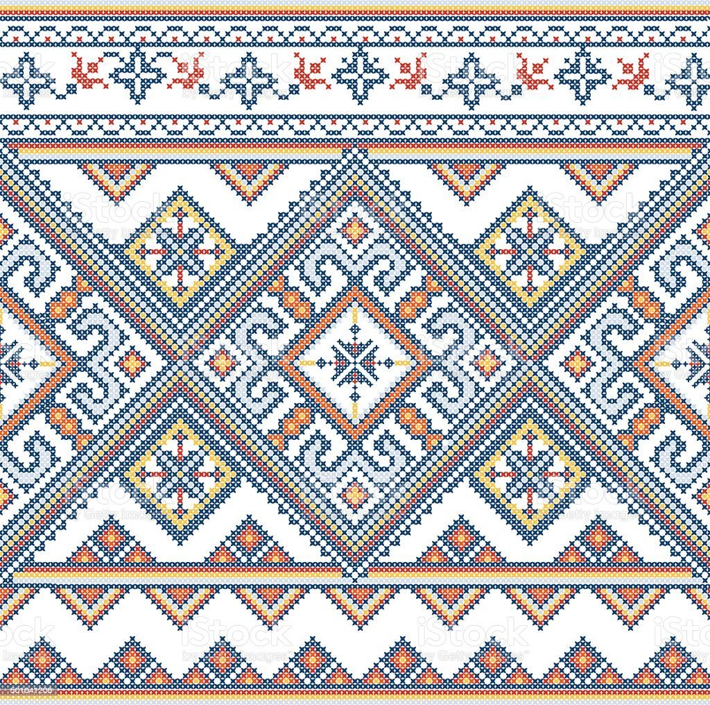 Embroidered handmade cross-stitch ethnic Ukraine pattern vector art illustration