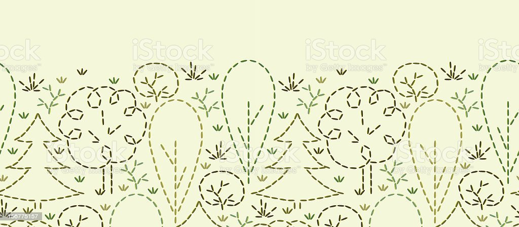 Embroidered Trees Horizontal Seamless Pattern Background royalty-free stock vector art