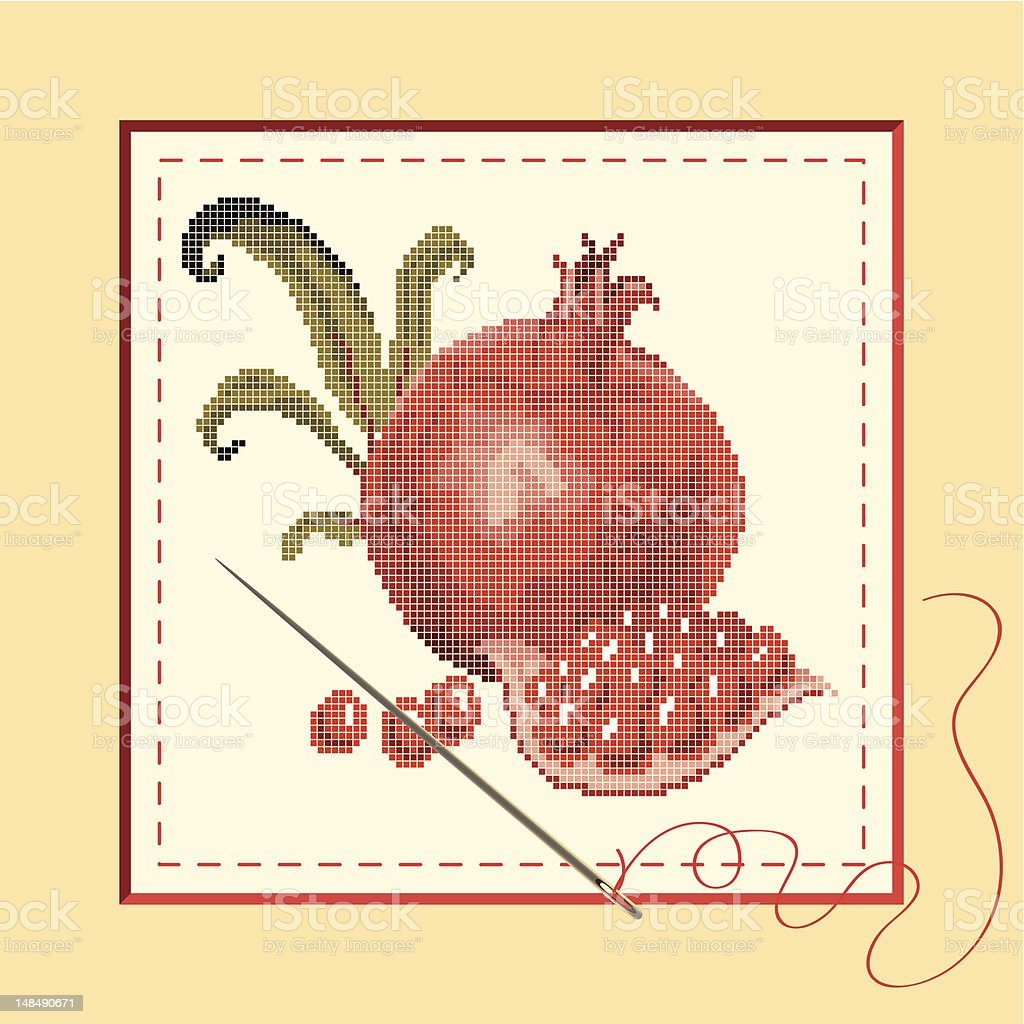 embroidered with pomegranates royalty-free stock vector art