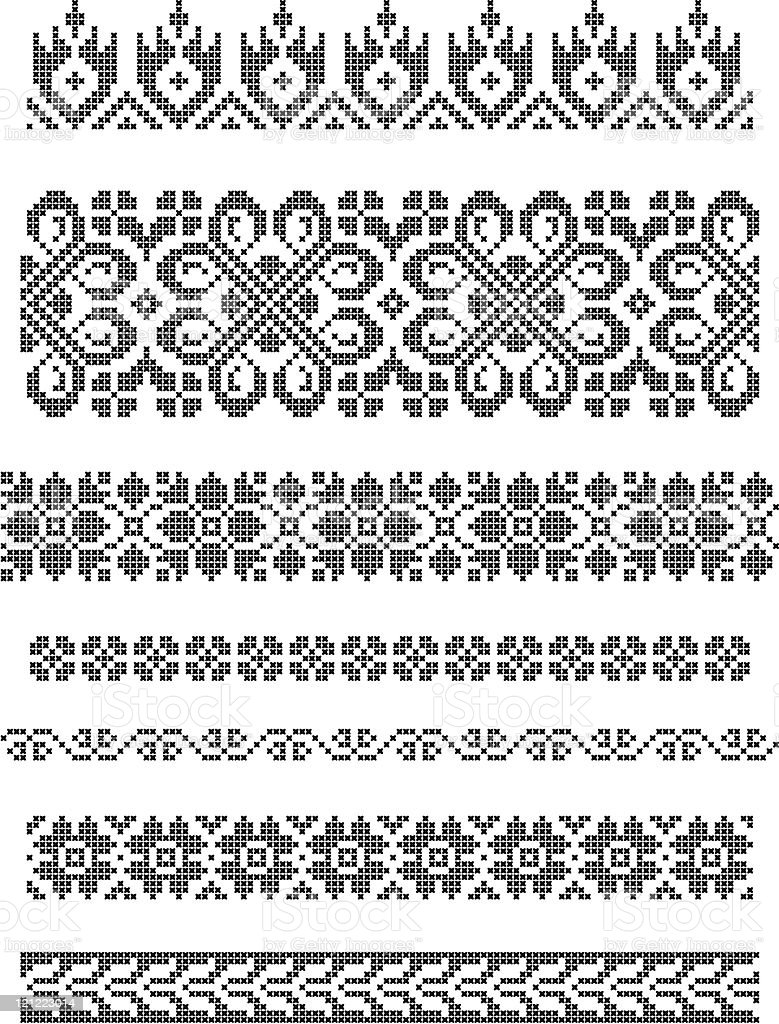 embroidery, borders royalty-free stock vector art