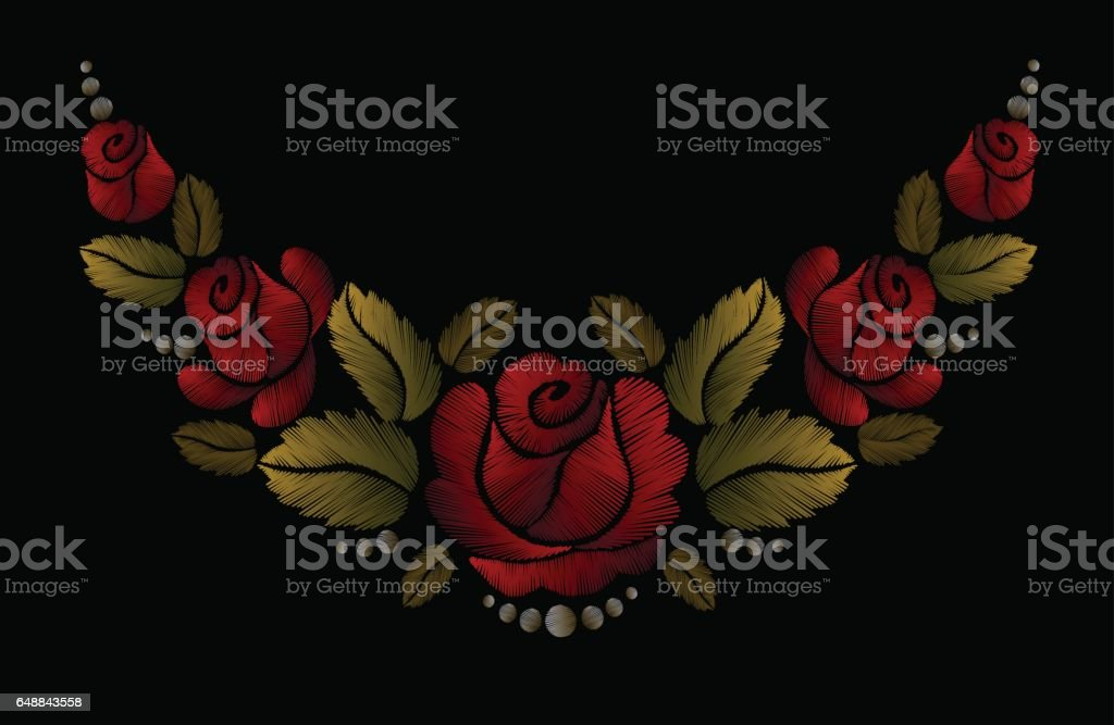 Embroidery colorful floral patch red roses gold leaves flowers vector art illustration