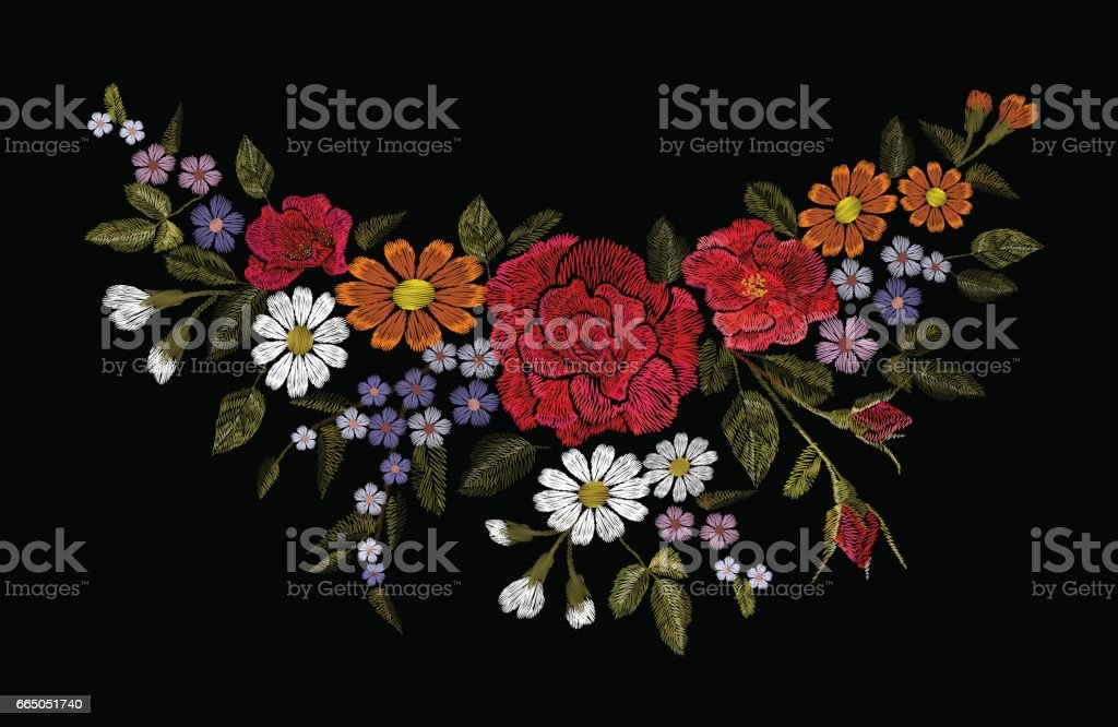 Embroidery colorful floral patch with rose and daisy paisley flowers vector art illustration