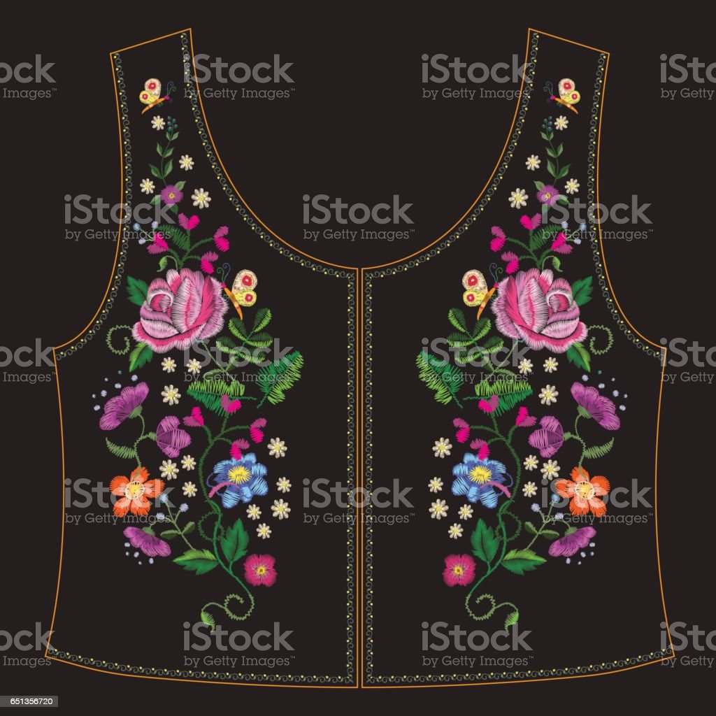 Embroidery ethnic neck line floral pattern with  colorful roses and butterflies. vector art illustration