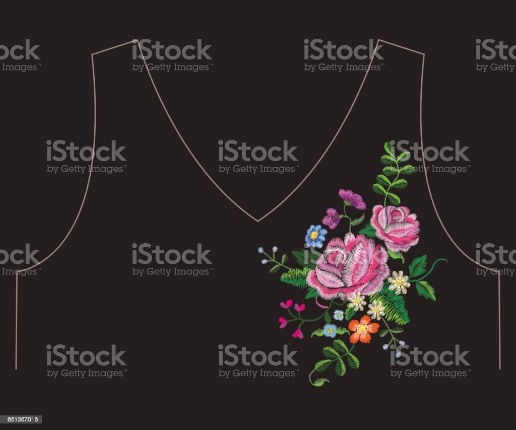 Embroidery ethnic neck line floral pattern with pink roses. vector art illustration