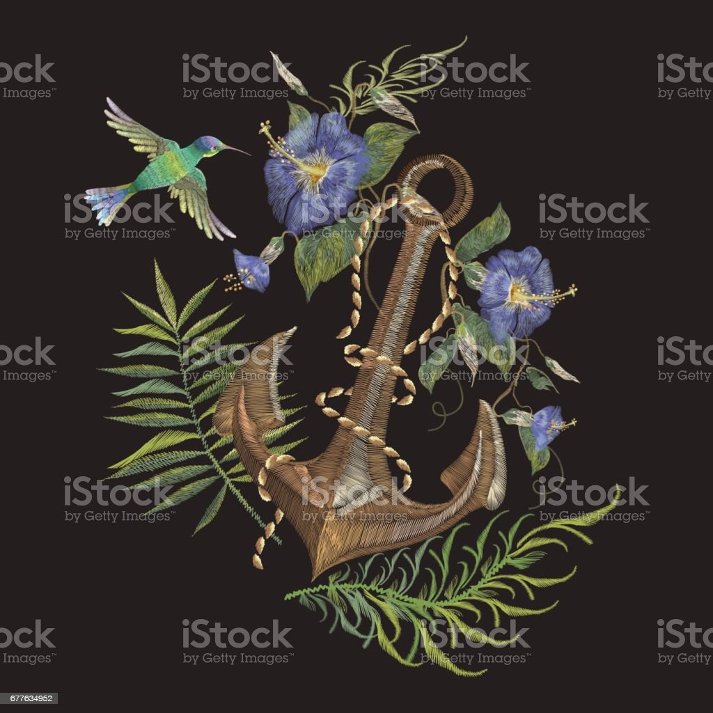 Embroidery exotic flowers and anchor pattern with hummingbird. vector art illustration