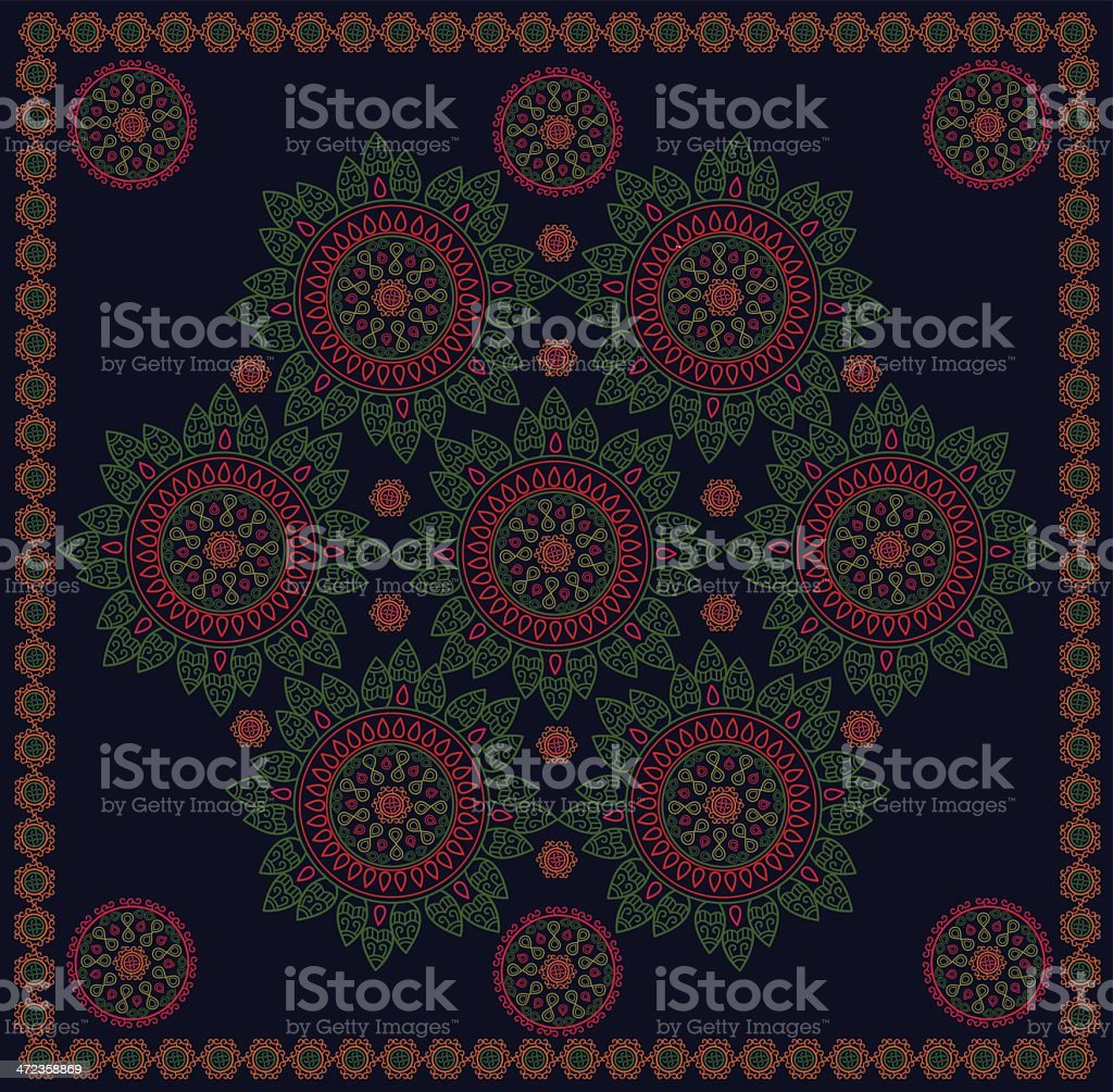 Embroidery Frame With Flower Circle Design royalty-free stock vector art