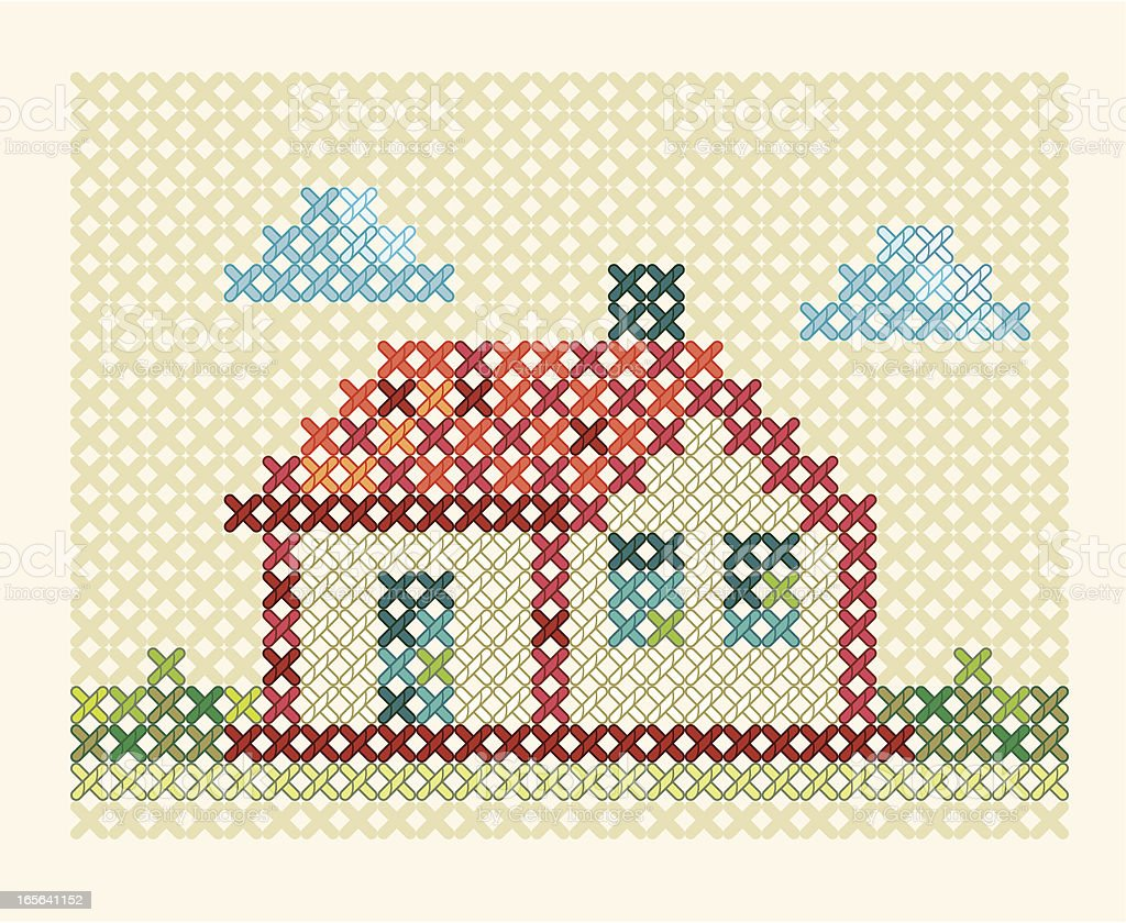 Embroidery house. vector art illustration