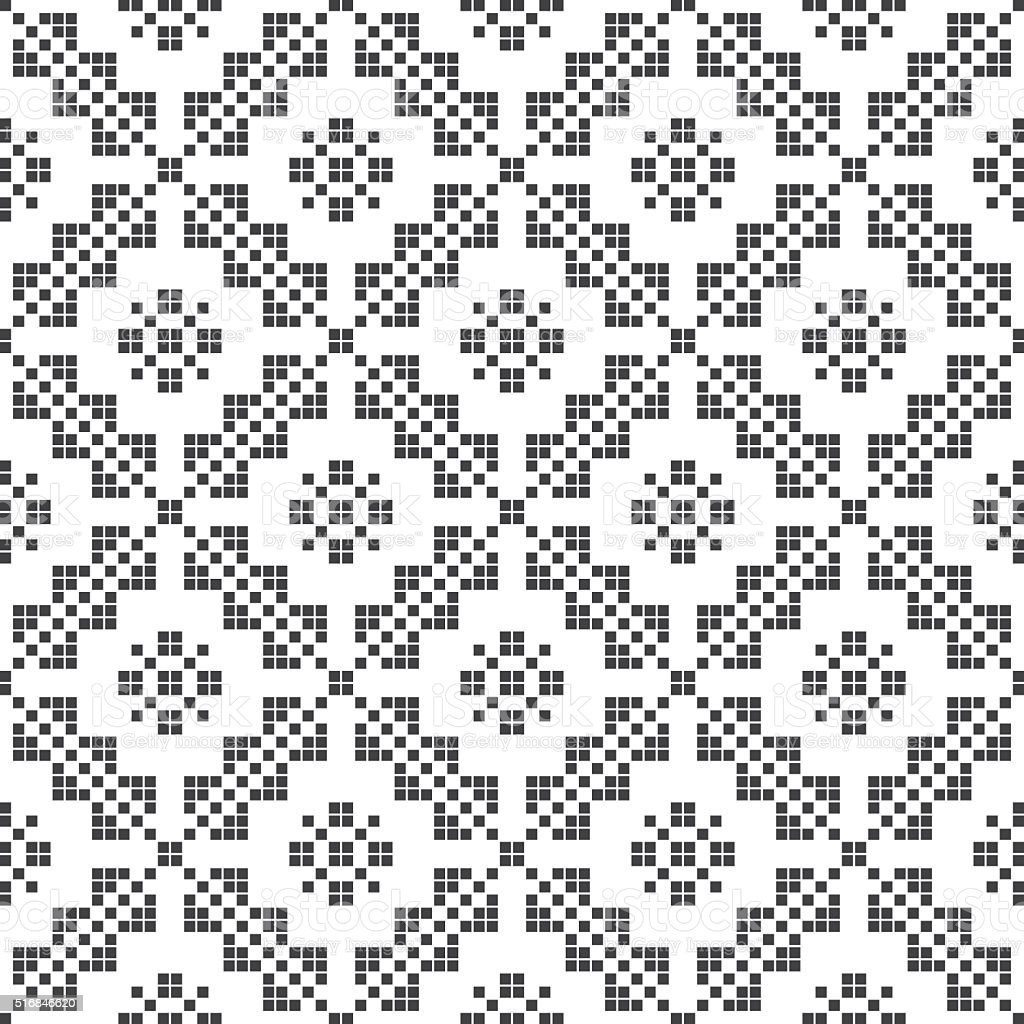 Embroidery inspired seamless pattern. Vector Illustration vector art illustration
