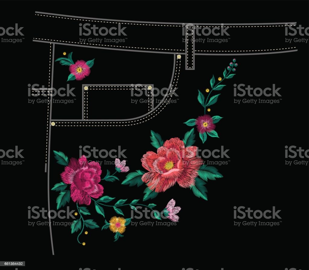 Embroidery jeans floral pattern with colorful roses. vector art illustration