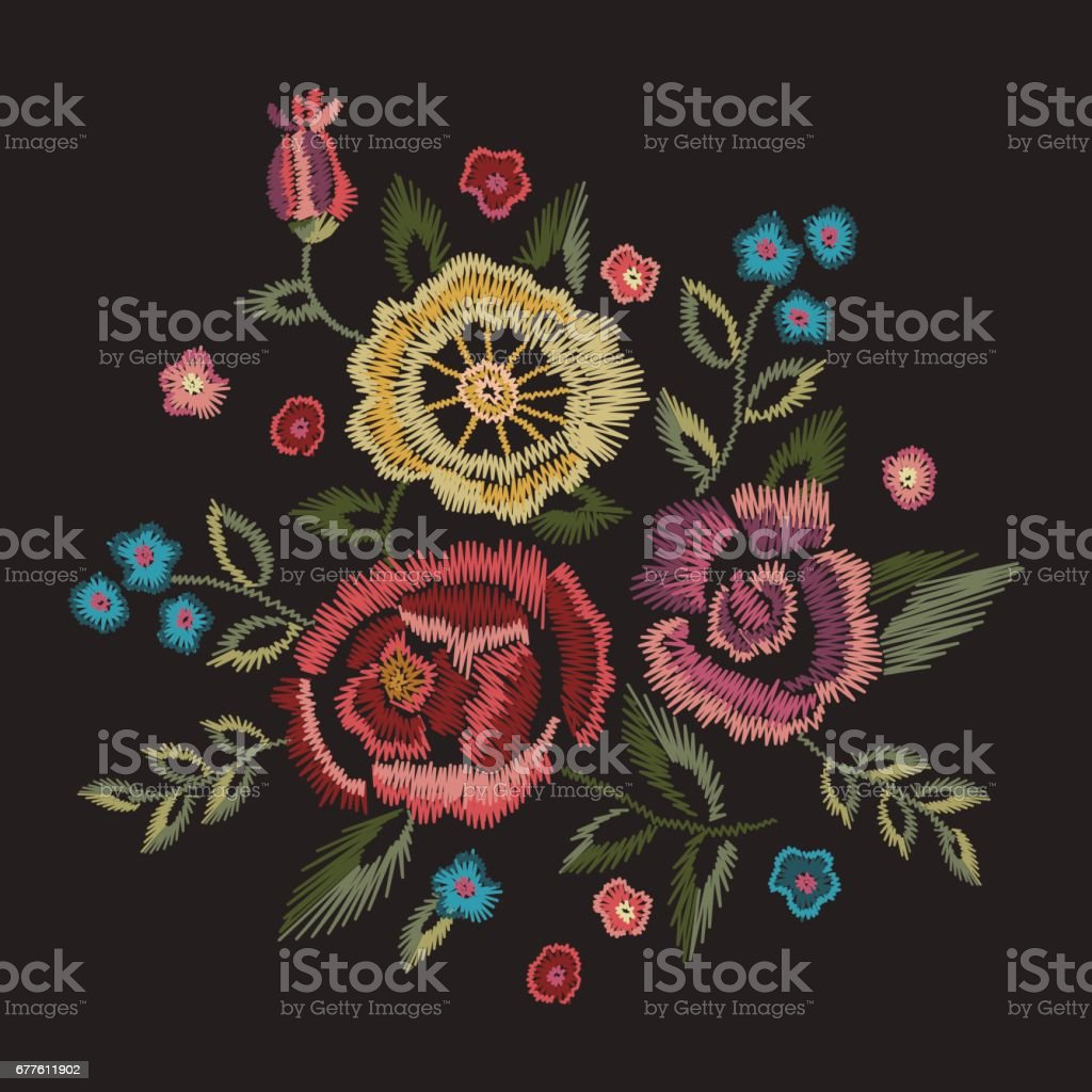 Embroidery native floral round pattern with simplified roses. vector art illustration