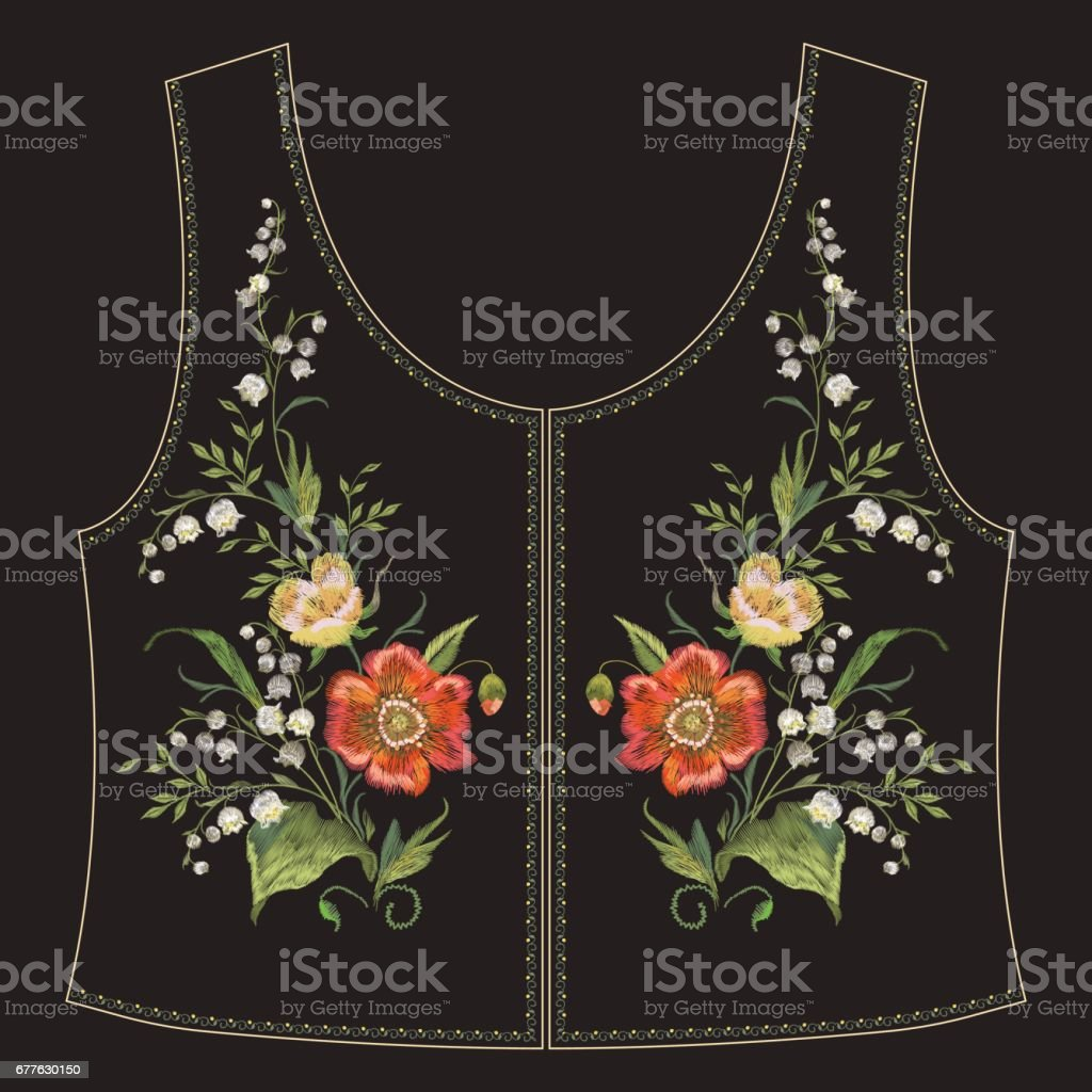 Embroidery neck line floral pattern with poppies and lilies of the valley. vector art illustration