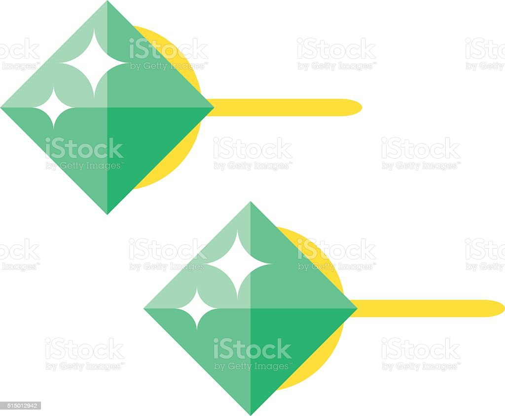 Emerald earrings beautiful gold accessory isolated vector art illustration