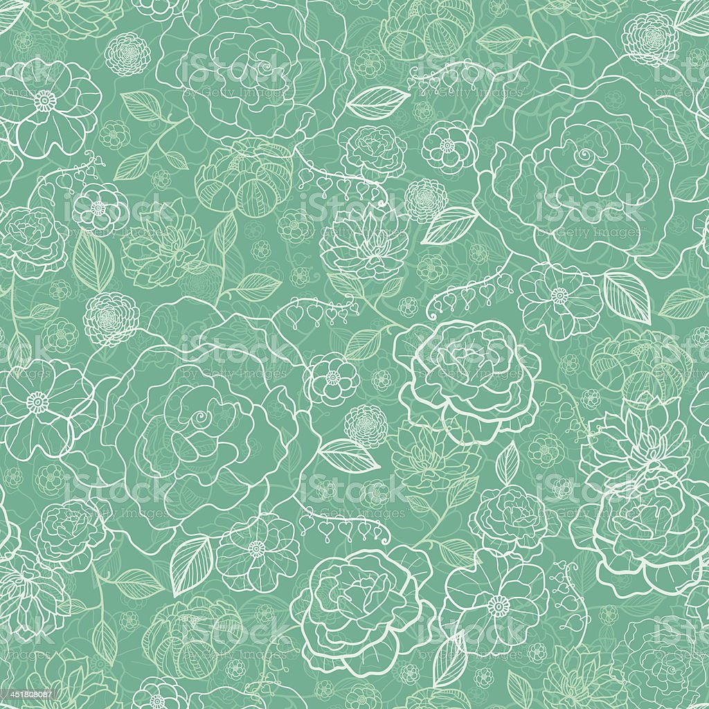Emerald green floral lineart seamless pattern background royalty-free stock vector art