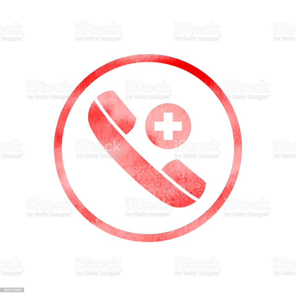 Emergency call icon with watercolor texture vector art illustration