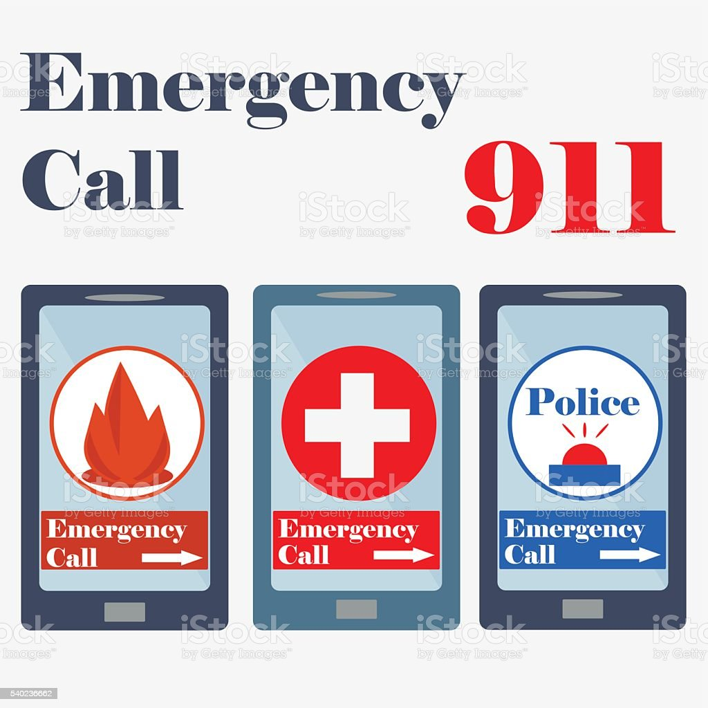 911, Emergency call sign, Plus Sign, Red Cross, police vector art illustration