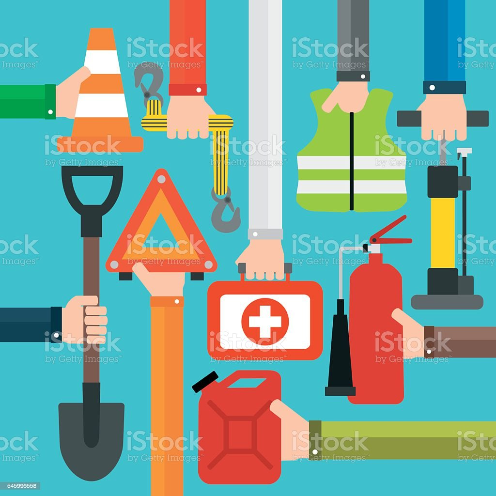 Emergency car equipment design flat set vector art illustration