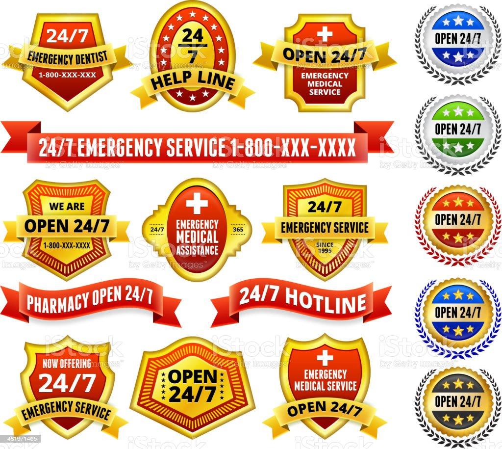Emergency Hotline 24/7 Call Center Badges Red and Gold Set vector art illustration