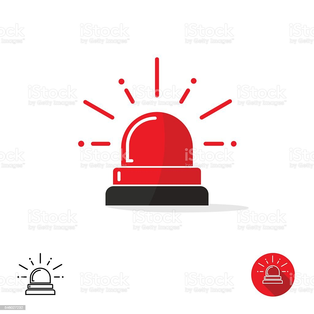 Emergency icon, ambulance siren light, police car flasher, red logo vector art illustration