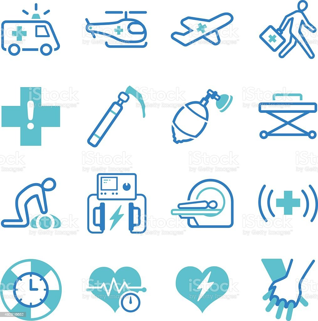 Emergency icons set vector art illustration