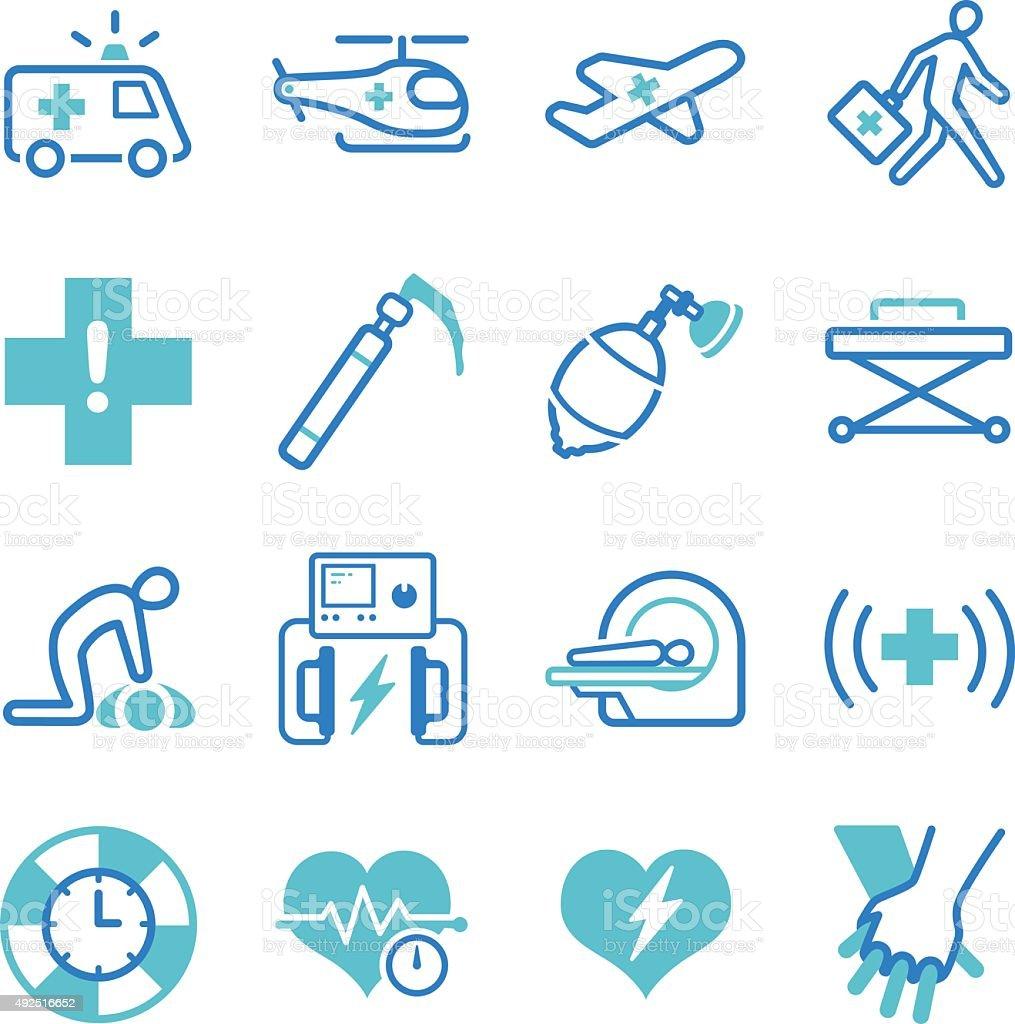 Emergency icons set vector art illustration