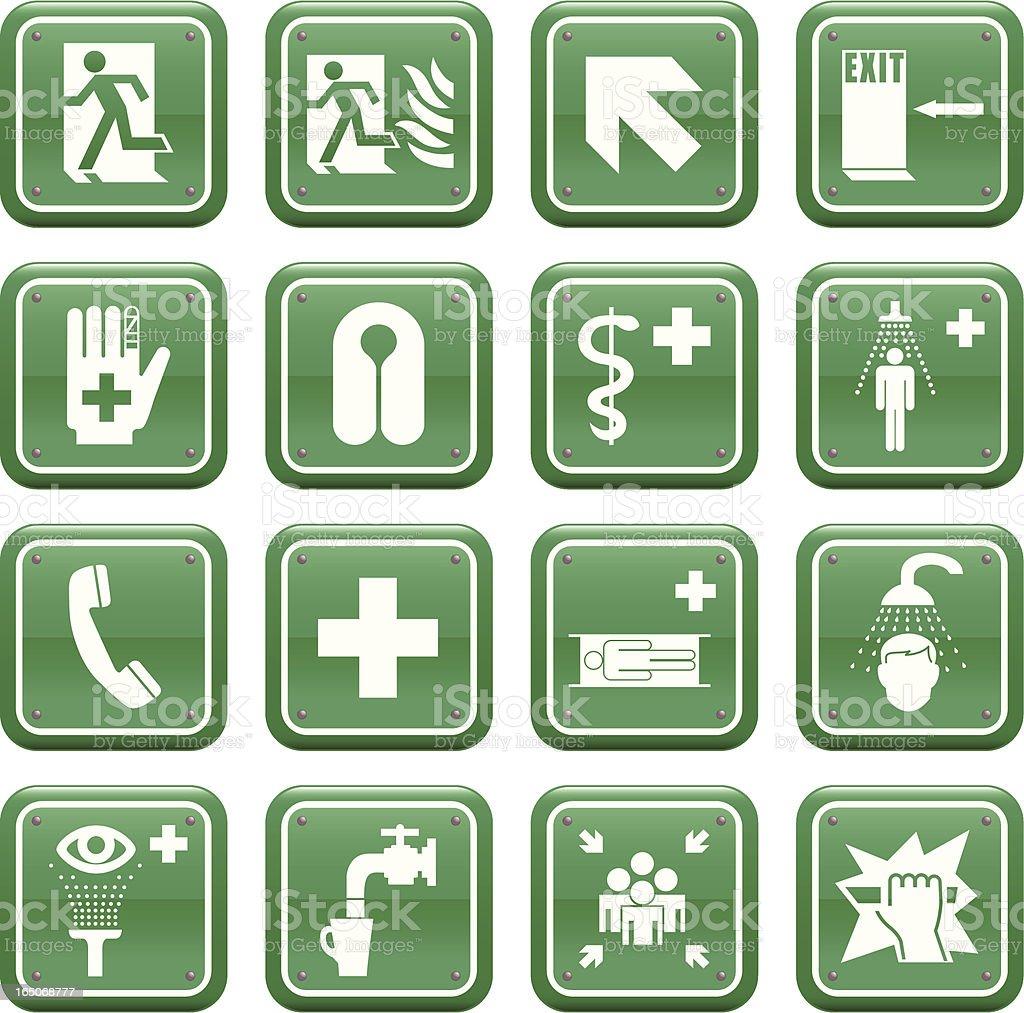 Emergency Medical & Safety Signs vector art illustration