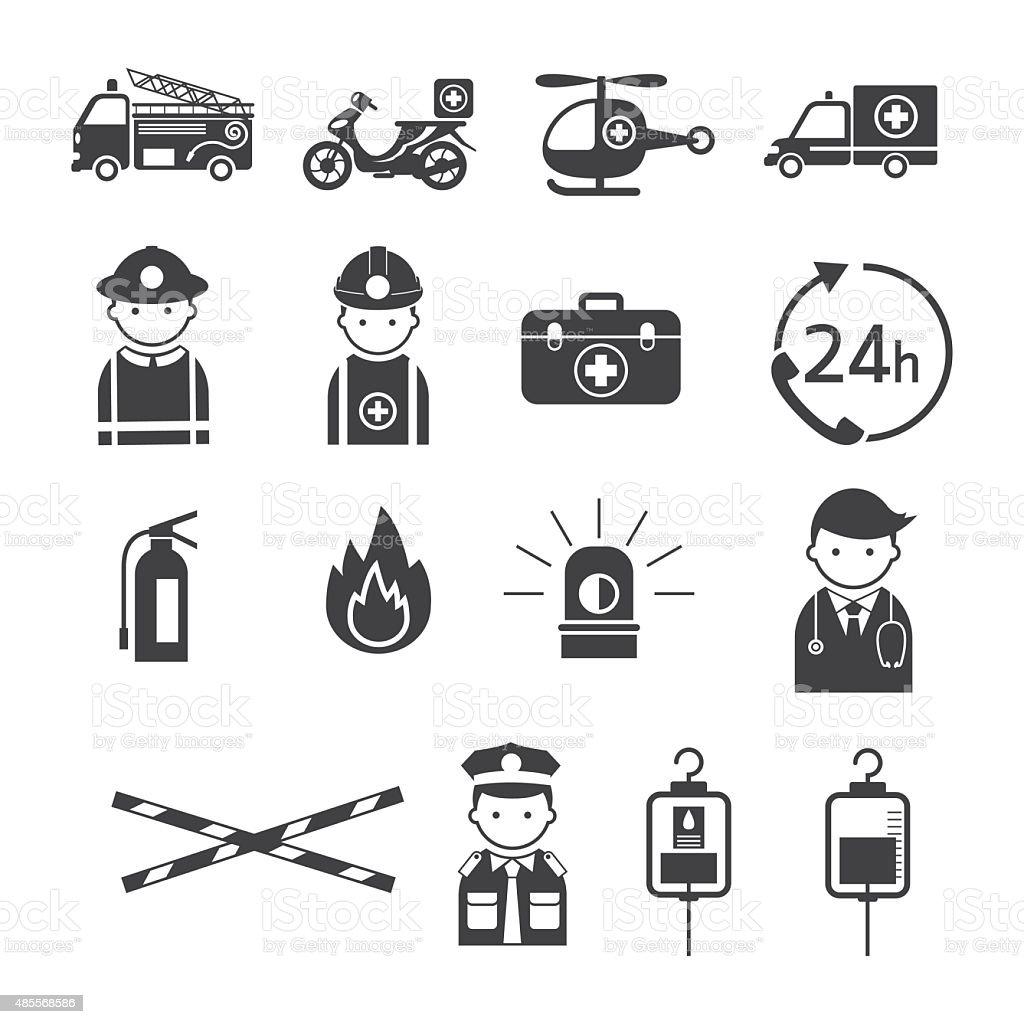 Emergency Monochrome Icons Set vector art illustration
