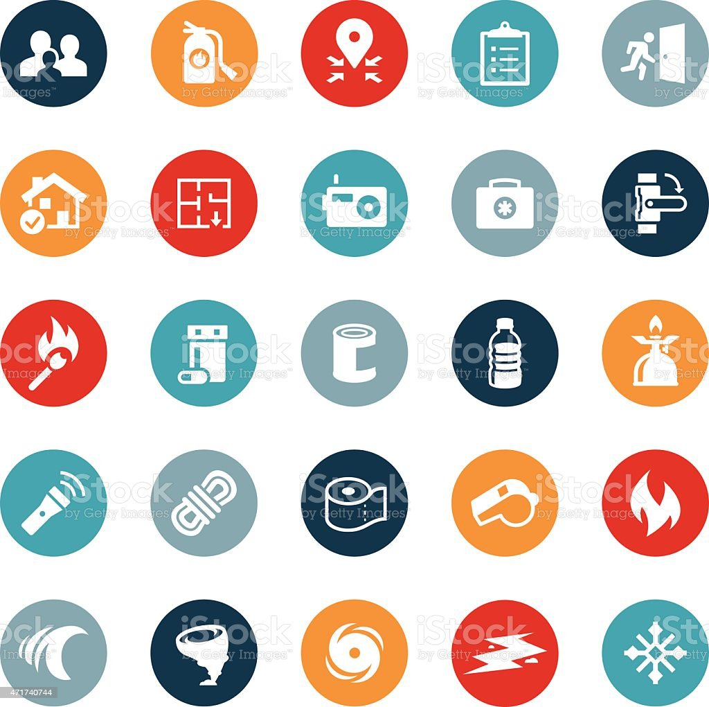 Emergency Preparation Icons vector art illustration